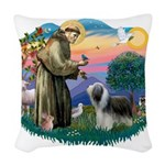 St.Francis #2/ Beardie (sw) Woven Throw Pillow