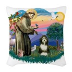 St.Francis #2/ Beardie (#8) Woven Throw Pillow