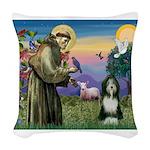 St. Francis & Beardie Woven Throw Pillow