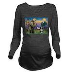St. Francis & Beardie Long Sleeve Maternity T-Shir
