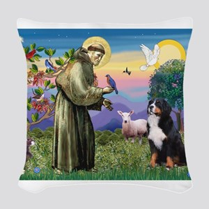 St Francis/Bernese Woven Throw Pillow