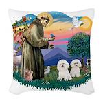 St.Francis #2/ Bichon (2) Woven Throw Pillow