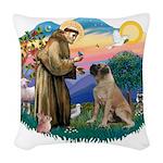 St.Francis #2/ Bull Mastiff Woven Throw Pillow