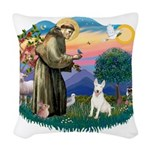 St.Francis #2/ Bull T #4 Woven Throw Pillow