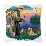 St Francis #2/ Cairn Ter Woven Throw Pillow