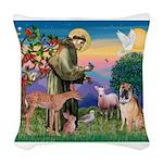 St Francis/Shar Pei #5 Woven Throw Pillow