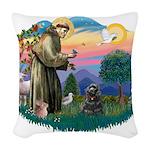 St.Fran #2/ Cocker (black) Woven Throw Pillow