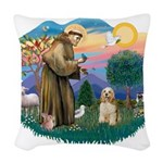 St.Francis #2/ Cocker (buff # Woven Throw Pillow