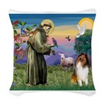 St Francis / Collie Woven Throw Pillow