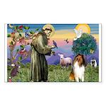 St Francis / Collie Sticker (Rectangle 10 pk)