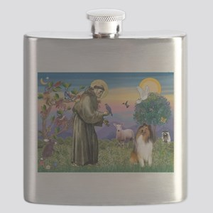 St. Francis & Collie Flask