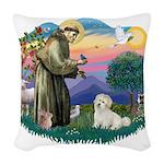 St.Francis #2/ Coton De Tulea Woven Throw Pillow
