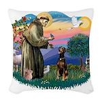 St Francis #2/ Doberman Woven Throw Pillow