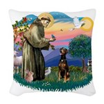 St Francis #2/ Doberman Woven Throw Pillow