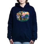 St Francis #2/ Doberman Women's Hooded Sweatshirt