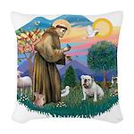 St.Francis #2/ Eng Bull (W #1 Woven Throw Pillow