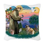 St.Francis #2/ E Bulldog #3 Woven Throw Pillow