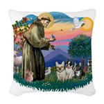 St.Francis #2/ Fr Bulldog (3) Woven Throw Pillow