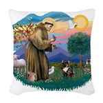 St.Francis #2/ Fr Bulldog (br Woven Throw Pillow