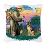 St.Francis #2/ Ger Shep #2 Woven Throw Pillow