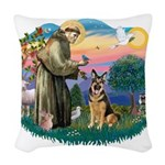 St.Francis #2/ Ger Shep (W) Woven Throw Pillow