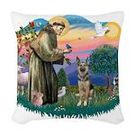 St.Francis #2/ German Shep (P Woven Throw Pillow