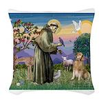 St Francis Golden Woven Throw Pillow