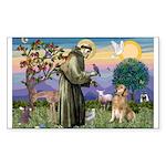 St Francis Golden Sticker (Rectangle)