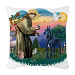 St.Francis #2/ Great Dane (bl Woven Throw Pillow