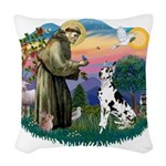 St.Francis #2/ Great Dane (H) Woven Throw Pillow