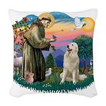 St.Francis #2/ Pyrenees #1 Woven Throw Pillow