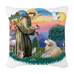 St.Francis #2/ Pyrenees#2 Woven Throw Pillow