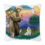 St.Francis #2/ Havanese (whit Woven Throw Pillow