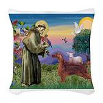 St. Fran./ Irish Setter Woven Throw Pillow