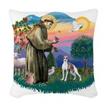 St.Francis #2/ Italian Greyho Woven Throw Pillow