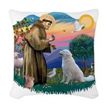 St Francis #2/ Kuvacz Woven Throw Pillow