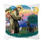 St.Francis #2/ Black Labrador Woven Throw Pillow
