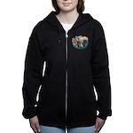 St.Francis #2/ Two Labradors Women's Zip Hoodi