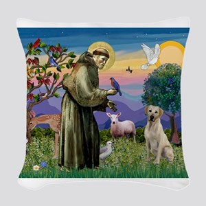 St Francis/Yellow Lab Woven Throw Pillow