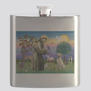 St Francis/Yellow Lab Flask