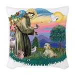 St.Francis #2 / Lhasa Apso (R Woven Throw Pillow