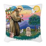 St.Francis #2/ Lhasa Apso (# Woven Throw Pillow