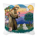 St.Francis #2/ Maltese #7 Woven Throw Pillow