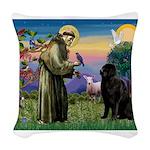 Saint Francis' Newfie Woven Throw Pillow