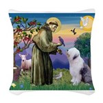 ST. FRANCIS + OES Woven Throw Pillow