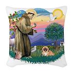 St.Francis #2 / Pekingese #1 Woven Throw Pillow