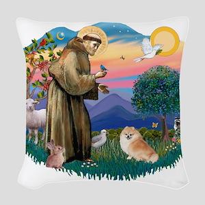 St.Francis #2/ Pomeranian (r) Woven Throw Pillow