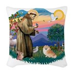St.Francis #2/ Pomeranian (r) Woven Throw Pillow