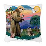 St.Francis #2/ Pomeranian (T Woven Throw Pillow