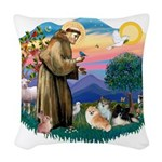 St.Francis #2/ Pomeranian(3) Woven Throw Pillow